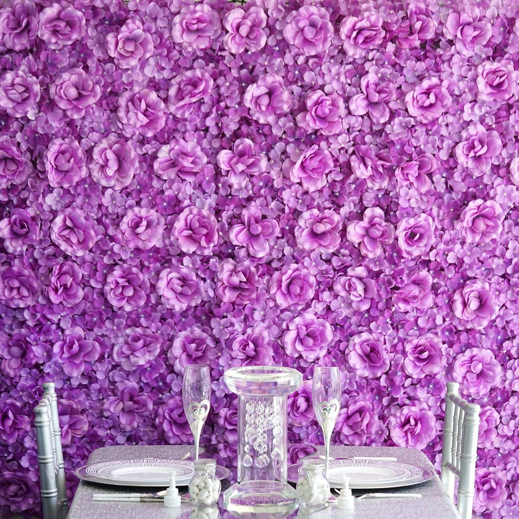 Efavormart 4 Pack 11 Sq ft. UV Protected 3D Silk Rose & Hydrangea Flower Wall Mat for Centerpieces Arrangements Party Decorations