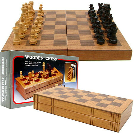 Wooden Book-Style Chess Board with Staunton (Pewter Staunton Chess)