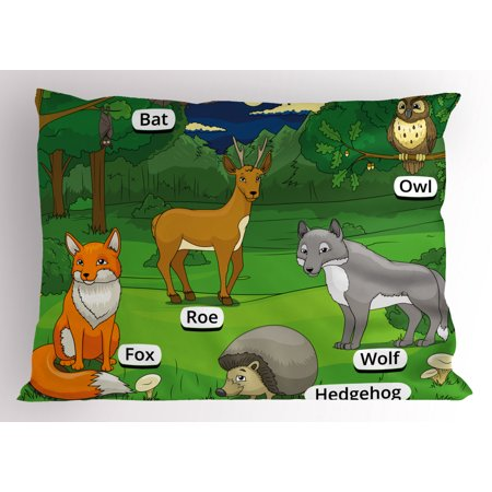 Educational Pillow Sham Forest with Cartoon Animals with Names Educational Intellectual Fun Kids Game, Decorative Standard King Size Printed Pillowcase, 36 X 20 Inches, Multicolor, by Ambesonne (X Games Comforter)