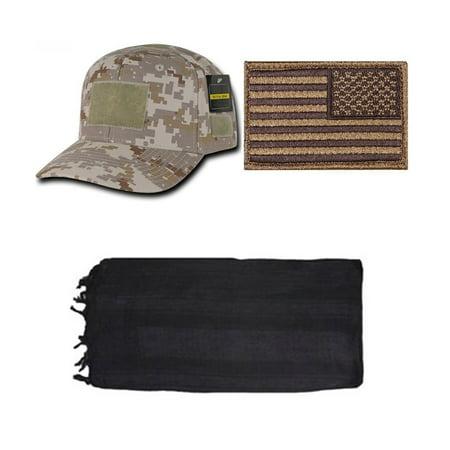 Desert Digital Cap + USA PATCH COYOTE RIGHT + Black Shemagh - Uta Caps