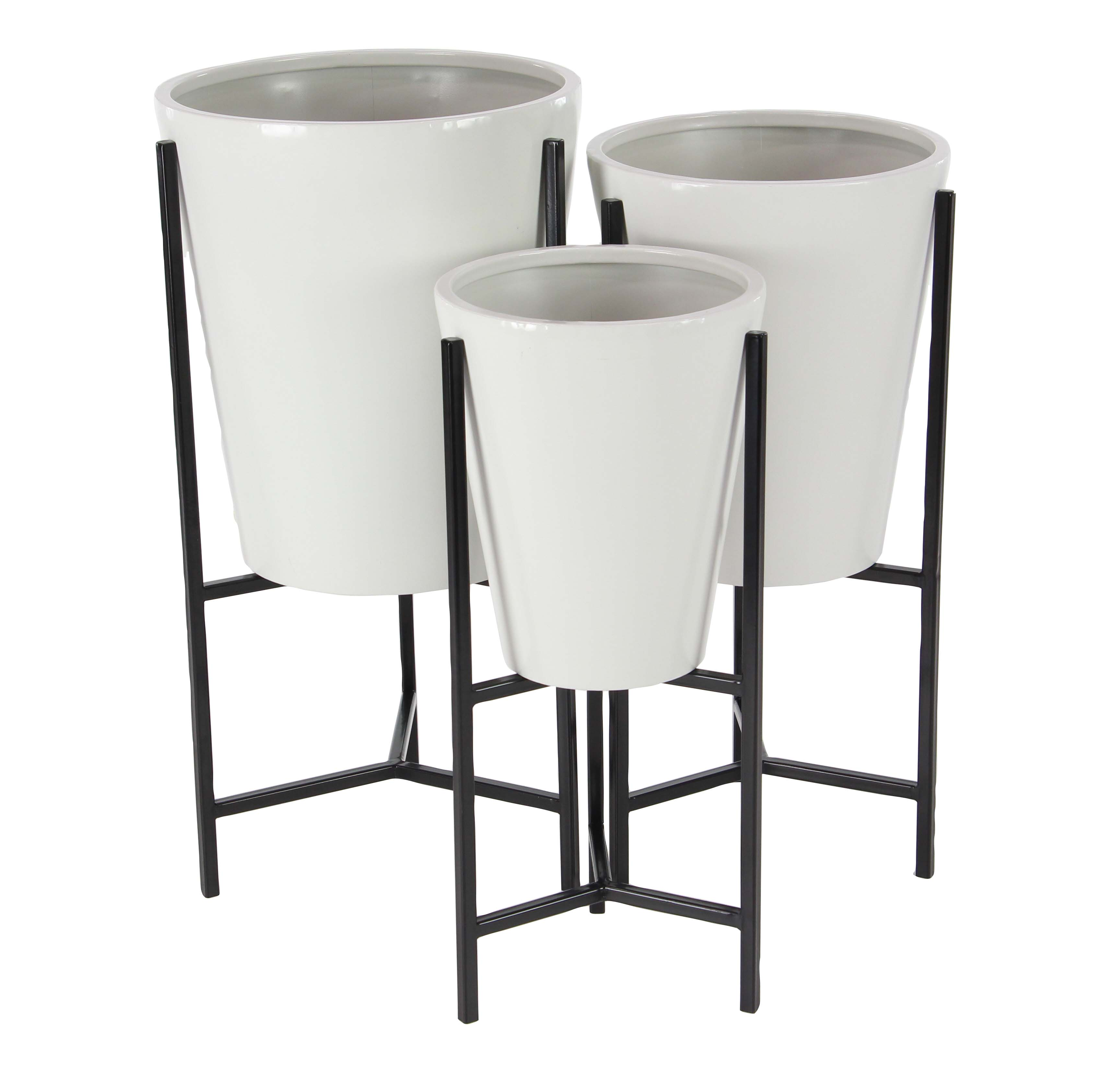 Decmode Set of 3 Modern Iron Conical White and Black Planters With Stand, White