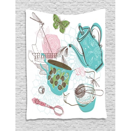 Tea Tapestry, Rose Flowers Teapot Butterfly Dragonfly Nuts Kitchen Cake Sweet Doodle Artwork Print, Wall Hanging for Bedroom Living Room Dorm Decor, 40W X 60L Inches, Multicolor, by Ambesonne
