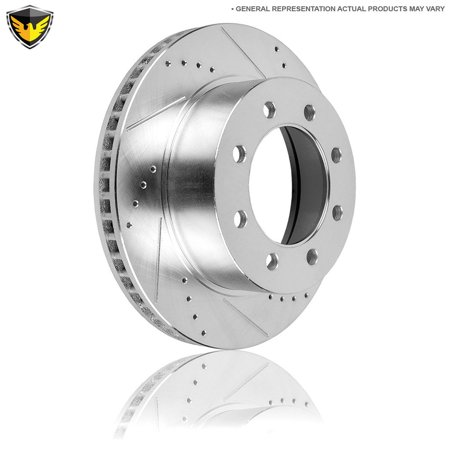 Front Right Drilled Slotted Brake Rotor Disc For Ford F250 F350 Super