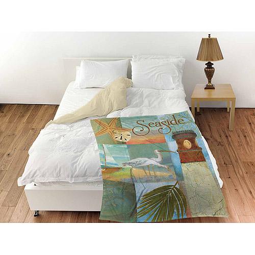 """Thumbprintz Beach Memories A Coral Fleece Throw, 30"""" x 40"""""""