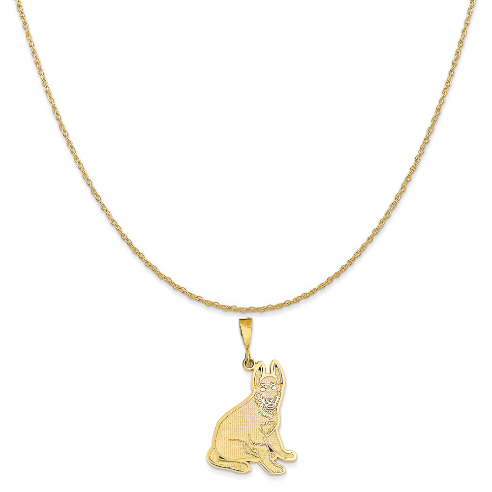 14k Yellow Gold German Shepherd Pendant on a 14K Yellow Gold Rope Chain Necklace, 18""