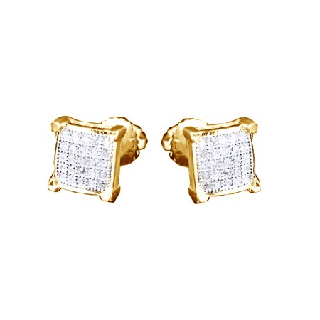 95a09f95a Jewel Zone US - Round Cut White Natural Diamond Unisex Stud Earrings ...