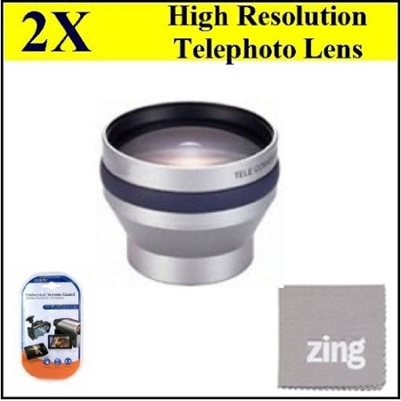 Oem Lcd Screen Lens (37mm 2X Telephoto Lens for Sony DCR-SX45 Handycam Camcorder + MicroFiber Cleaning Cloth + LCD Screen Protectors )