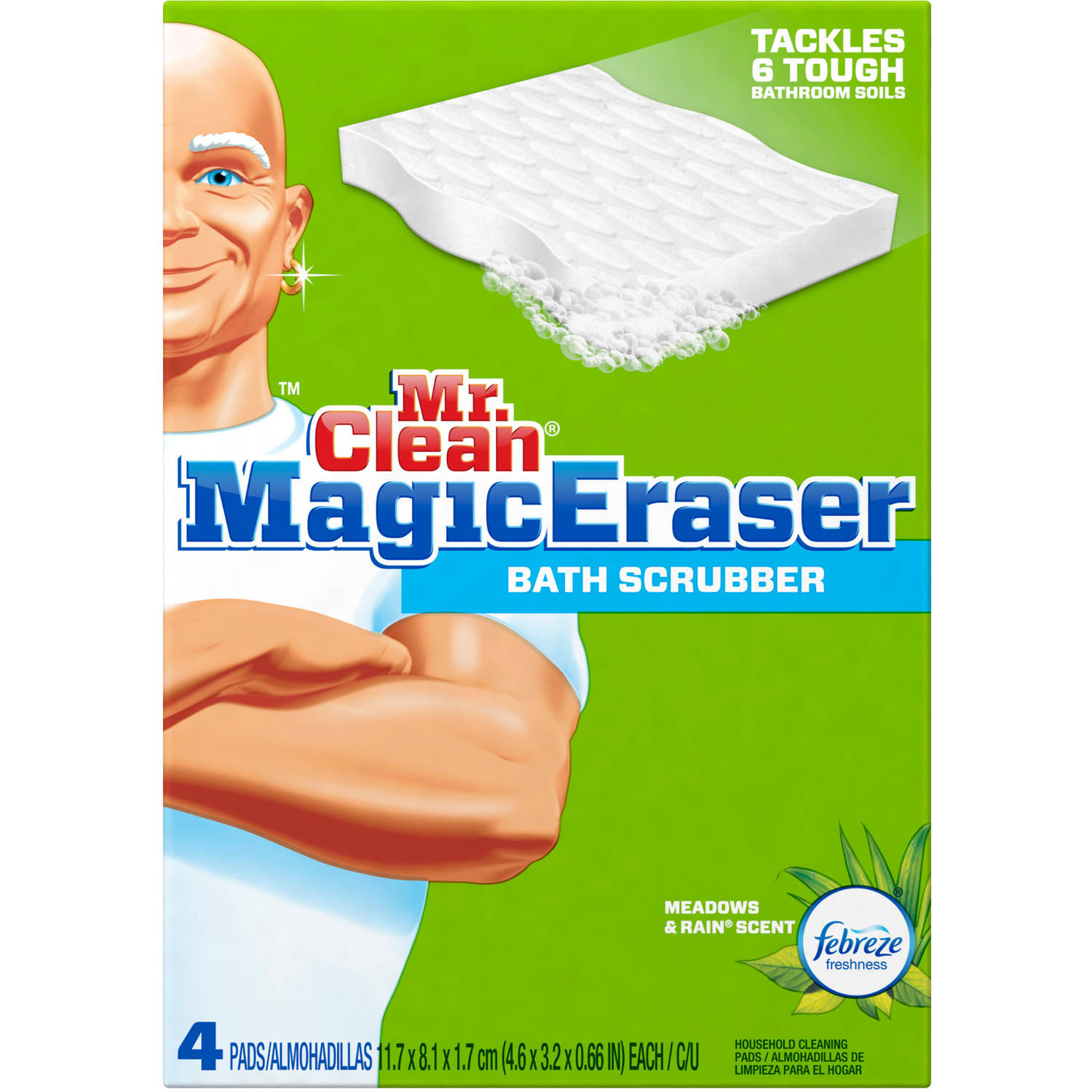 Mr. Clean Magic Eraser Bath Scrubber Febreze Meadows & Rain Scent Cleaning Pads, 4 count