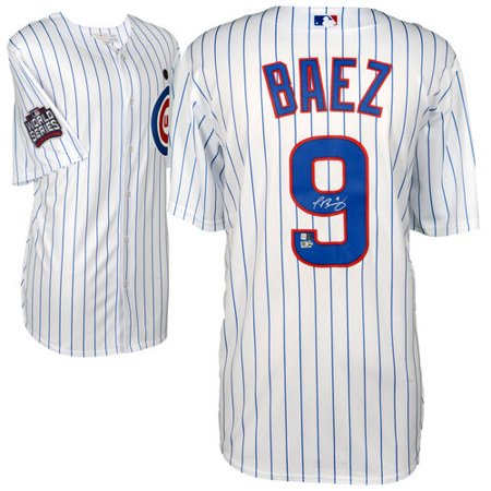 Javier Baez Chicago Cubs 2016 Mlb World Series Champions Autographed Majestic White Replica World Series Jersey