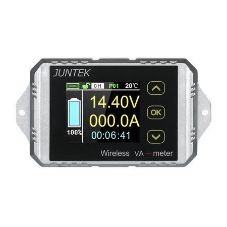 JUNTEK DC 0.01-100V 0.01-100A Multifunctional Wireless Digital Bi-directional Voltage Current Power Meter Ammeter Voltmeter Capacity Coulomb Counter