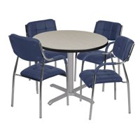 "Via 36"" Round X-Base Table- Maple/Grey & 4 Uptown Side Chairs- Navy"