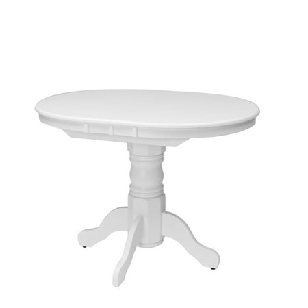 CorLiving Dillon Extendable White Oval Pedestal Dining Table with 12in Butterfly Leaf