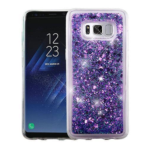 For Samsung Galaxy S8 Case G950 Hybrid Quicksand Liquid Glitter TPU Phone Cover (Hearts & Purple Quicksand Glitter)
