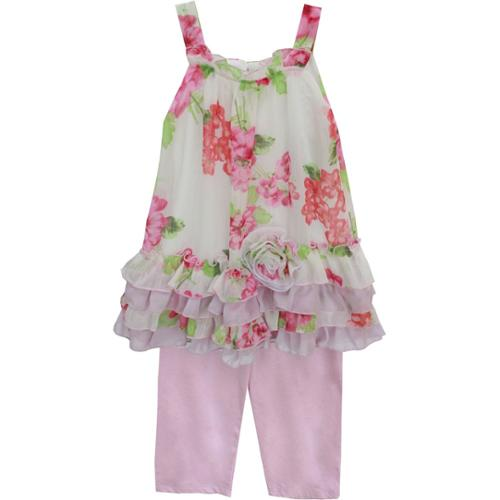 Isobella & Chloe Baby Girls White Pink Peony Two Piece Pant Set 24M