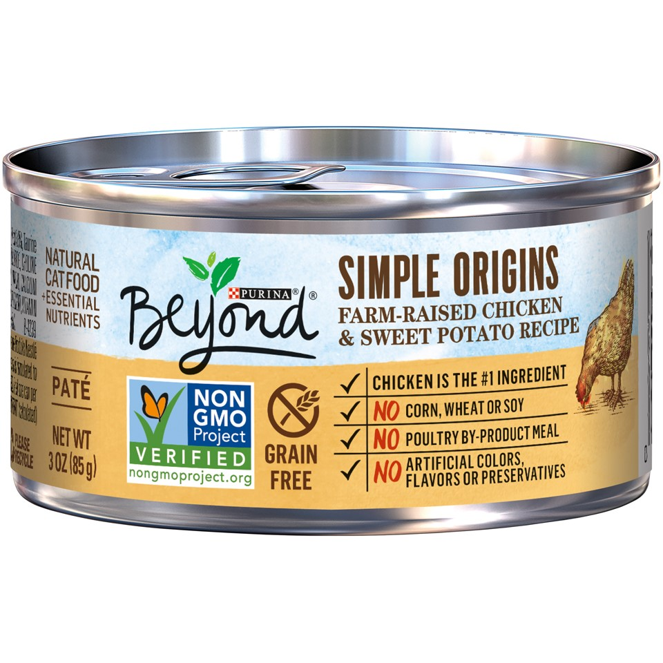 Purina Beyond Simple Origins Grain-Free Farm-Raised Chicken & Sweet Potato Wet Cat Food, 3 Oz, Pack of 12