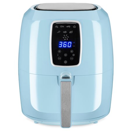 Best Choice Products 5.5qt 7-in-1 Electric Digital Family Sized Air Fryer Kitchen Appliance w/ LCD Screen, Non-Stick Coating, Temp Control, Timer, Removable Fryer Basket - Baby Blue