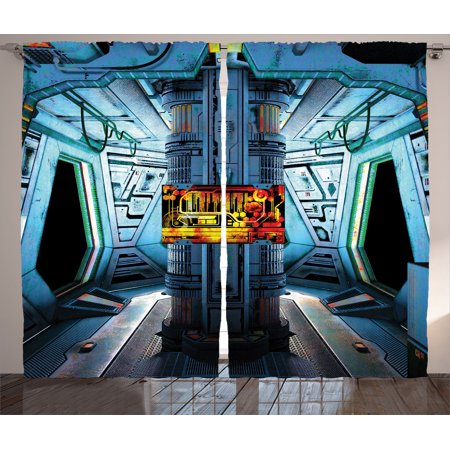 Outer Space Decor Curtains 2 Panels Set, Space Ship Station Base Control Room With Technology Elements Features Image, Living Room Bedroom Accessories, By Ambesonne - Outer Space Decor