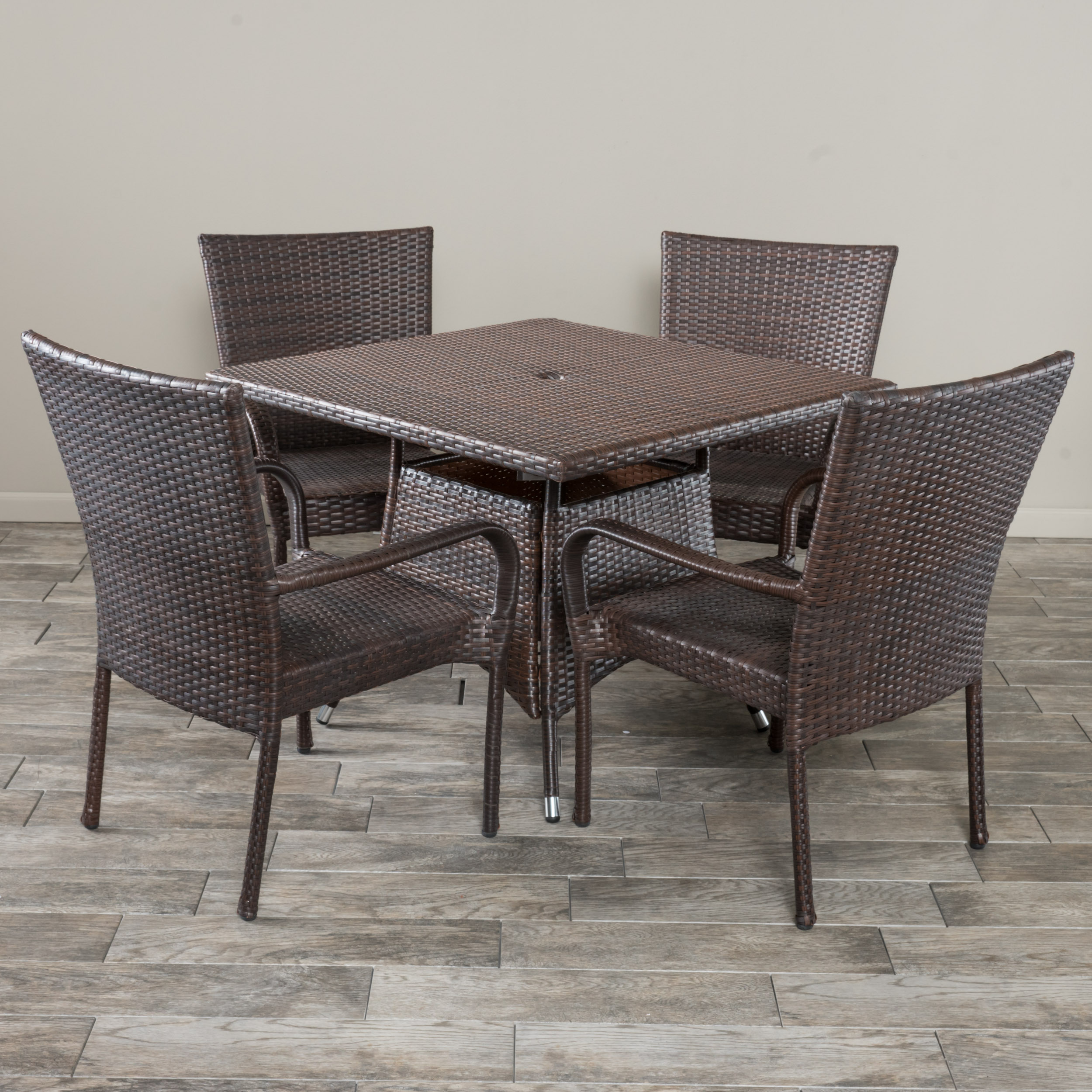 Amelia 5 Piece Outdoor Square Wicker Dining Set, Multibrown