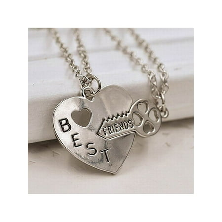Floral Pendant Necklace Set (Best Friend Friendship Necklace Heart Key Set Silver Pendant Couple Necklace )