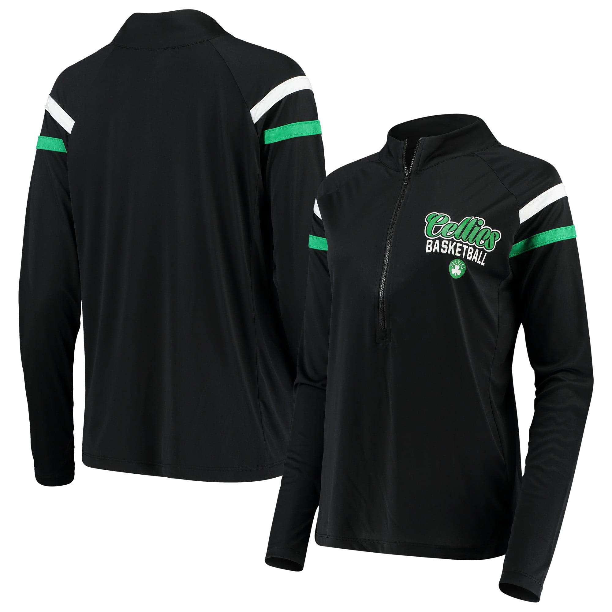 Boston Celtics 5th & Ocean by New Era Women's Pullover Half-Zip Thumb Holes Jacket - Black