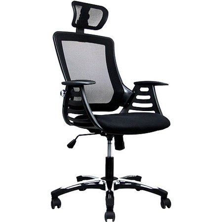 Techni Mobili Mesh High Back Chair With Headrest And Molded Arms  Black