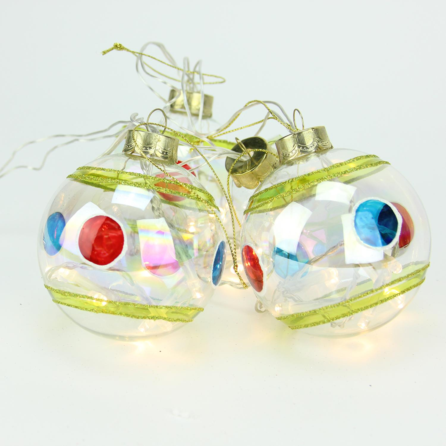 "Penn 4pc Stripe and Polka Dot Glass Ball LED Lighted Christmas Ornament Set 3.25"" - Clear"