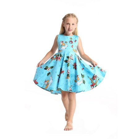 Girls Christmas Island - Girl Hawaiian Vintage Fit and Flare Dress in Christmas Santa in Hawaii in Turquoise Size 4