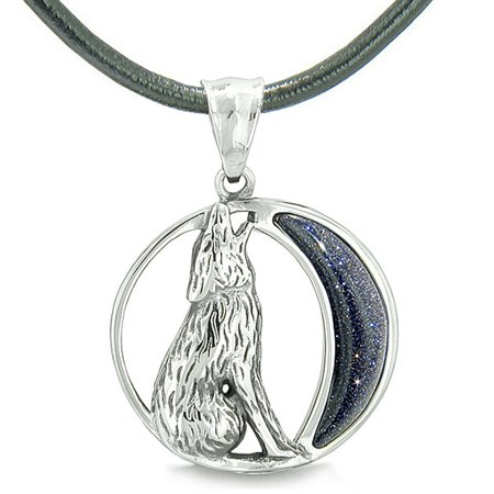 Amulet Howling Wolf Wild Moon Spiritual Powers Blue Goldstone Leather Pendant -