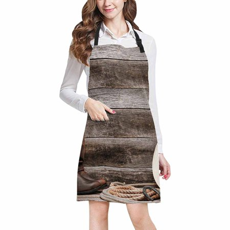 ASHLEIGH Cowboy Hat Western Lariat Lasso and Roper Leather Boots Adjustable Bib Apron with Pockets Commercial Restaurant and Home Kitchen Adjustable - Commercial Leather
