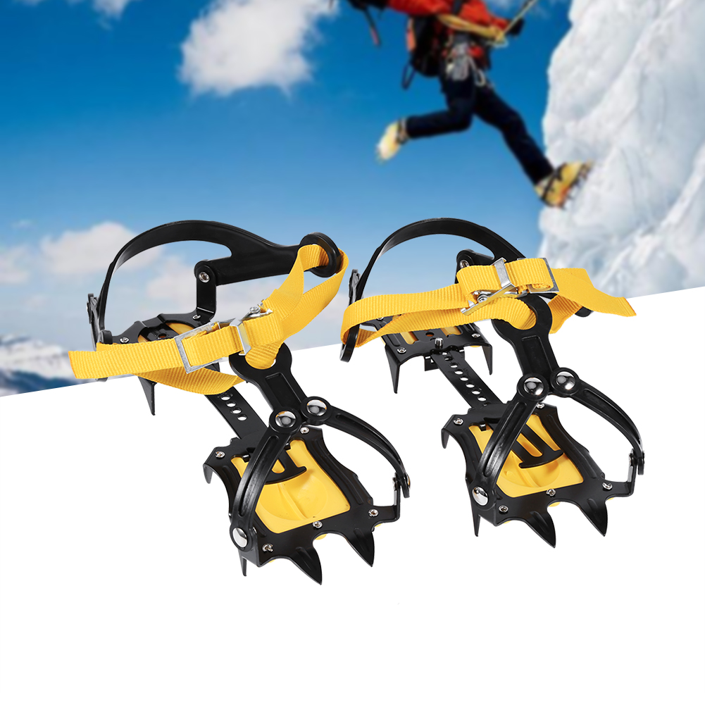Ashata 1 Pair Of 10-teeth Crampons Strap Binding Type Ice Grips Slip Resistant Cleats For Hiking , Ice Gripper, Ice... by