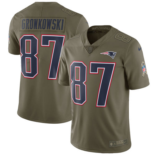 Men's Nike Rob Gronkowski Olive New England Patriots Salute To Service Limited Jersey