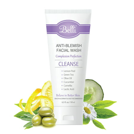 Belli Anti-Blemish Acne Facial Wash (6.5 Oz) – Pregnancy Safe Acne Face Cleanser - Clear Blemishes and Prevent Breakouts - Lactic Acid, Green Tea, Cucumber - Non-Irritating -