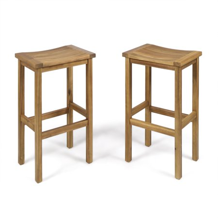 Cassie Outdoor 30 Inch Acacia Wood Barstools, Set of 2, Natural Finish 30 Inch Outdoor Freestanding Bar