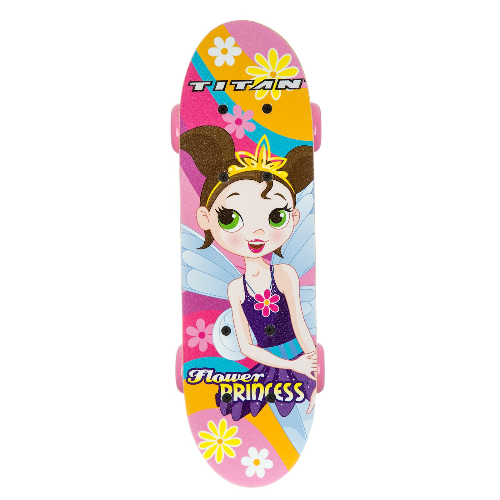 "17"" Titan Flower Princess Girls' Complete Skateboard, Pink"