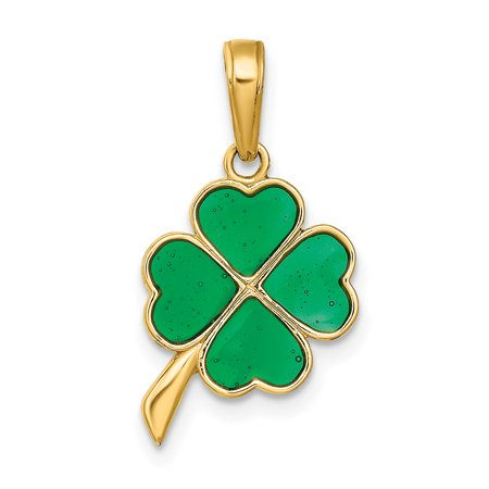 14k Yellow Gold 4 Leaf Clover Enameled Pendant Charm Necklace Gifts For Women For Her 14k Enameled Clover Charm