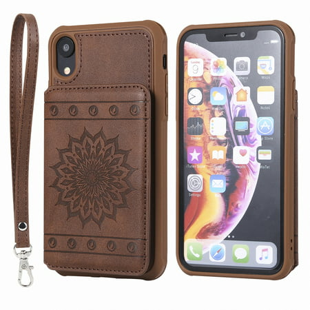 iPhone Xr Case, Allytech Embossed Sunflower Series, [Removable Wrist Strap] Premium PU Flip Wallet Case with Card Holder Cover for Apple iPhone Xr 6.1-inch Phone, Coffee