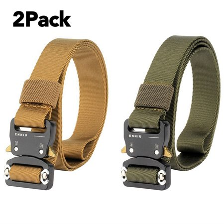 2 Pack 1.5 Inch Tactical Belt Outdoor Adjustable Military Heavy Duty Military Nylon Belt Strap with Riggers Quick Release Metal