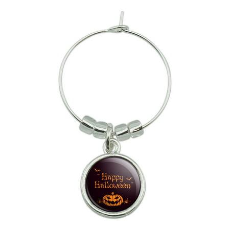 Happy Halloween Bag (Happy Halloween Holiday Pumpkin Jack-o-lantern Bats Wine Glass Charm Drink)