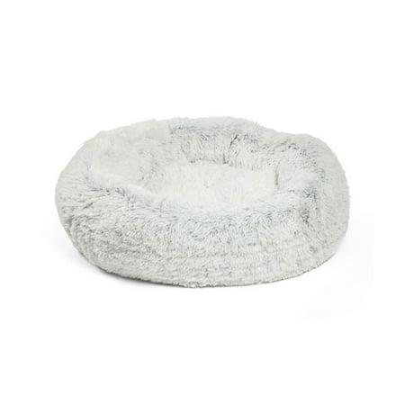 Best Friends by Sheri Luxury 23 Inch Shag Faux Fur Donut Pet Bed, Frost