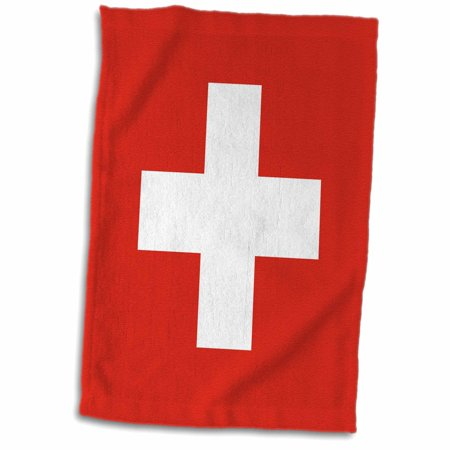 3dRose Flag of Switzerland - Swiss red and white cross - Europe - European country - world travel souvenir - Towel, 15 by 22-inch ()