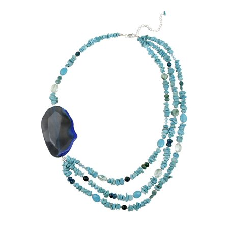 Sterling Silver Blue Agate, Turquoise, Apatite, Multi Strand Fashion Necklace