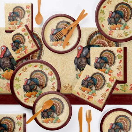 Thanksgiving Party Supplies (Harvest Turkey Party Supplies Kit (Serves 8)