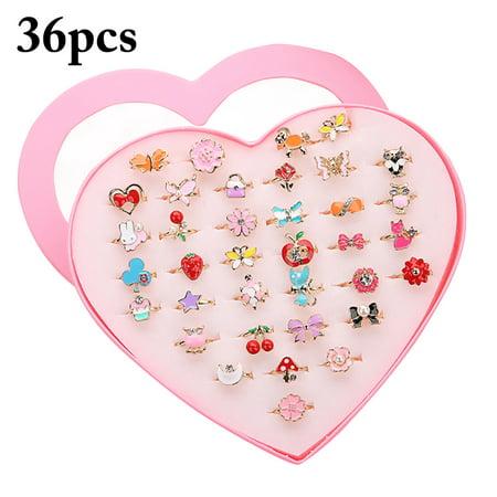 36PCS Kids Ring,Kapmore Cute Cartoon Rhinestone Adjustable Jewelry Ring Alloy Ring for Kids Girls Children