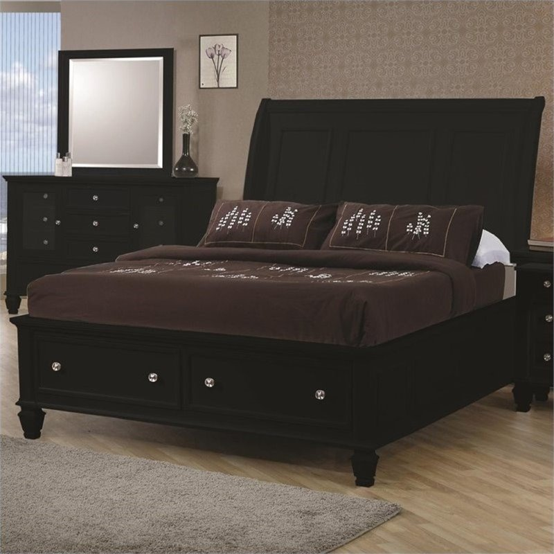 Bowery Hill California King Sleigh Bed with Storage Footb...