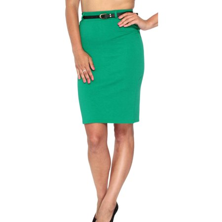 Womens Lady High Waisted Belted Pencil Skirt Stretch Bodycon Knee Length Shirt Belted High Waist Pencil Skirt