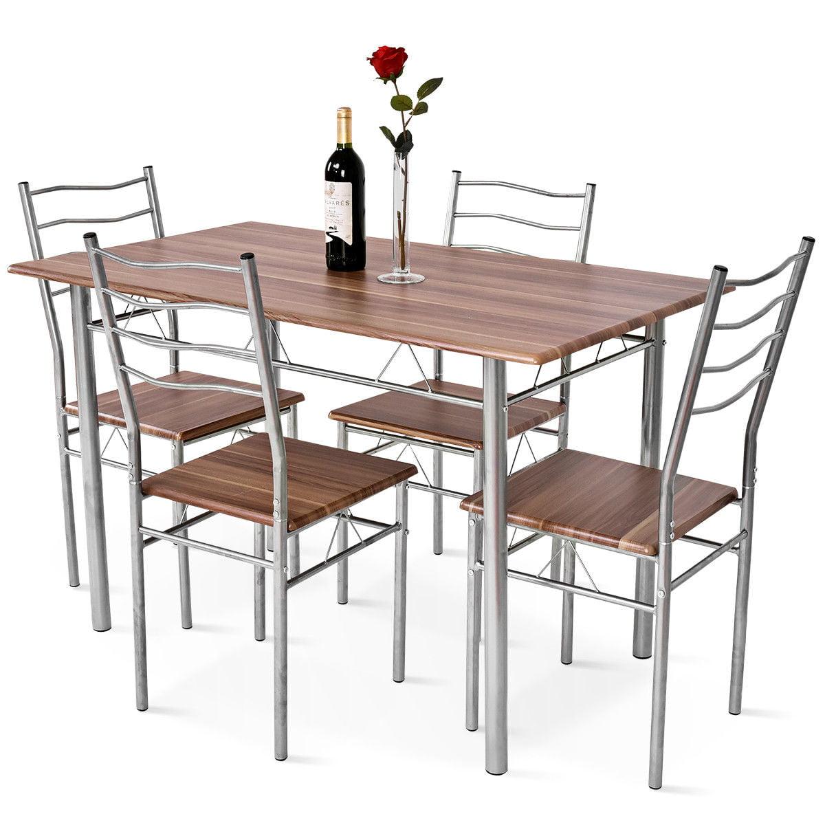 5 Piece Dining Table Set Wood Metal Kitchen Breakfast Furniture W4