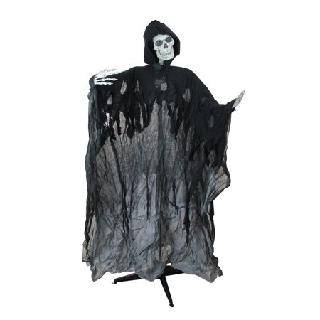 5' Pre-Lit and Musical Skeleton Ghost Reaper Standing Halloween Decoration](Pre Halloween Sale)