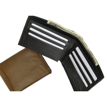 Mens Lambskin Leather Bifold Wallet with ID Flap 1183 (C) Black