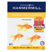 Hammermill Premium Multipurpose Paper,8.5x11In, 20lb,97Bright,500Sheet
