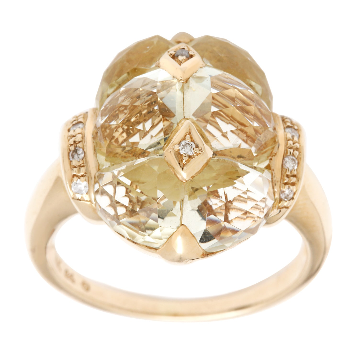 ASHER JEWELRY 14k Yellow Gold Lemon Quartz and Diamond Accent Ring
